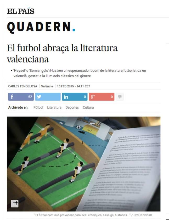 Artículo País fútbol Literatura Valenciana